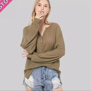 Olive Henley Wood Button Top